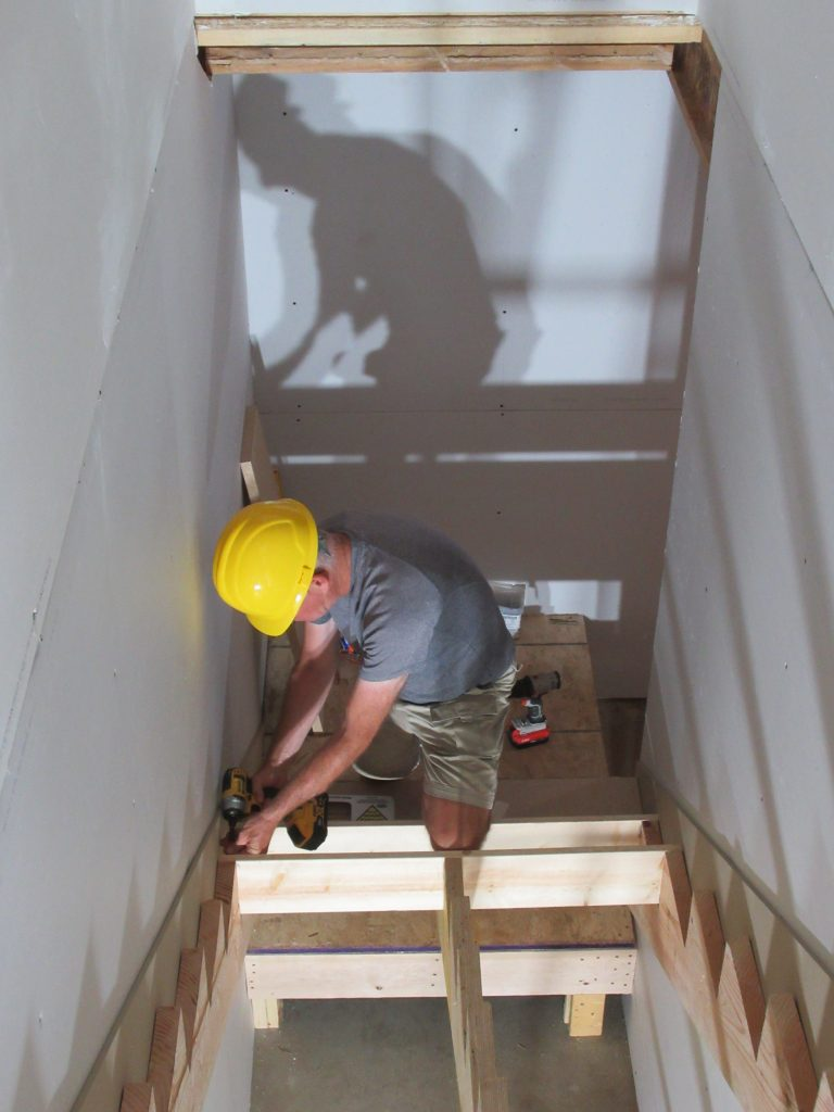 One of our caravanners building a staircase
